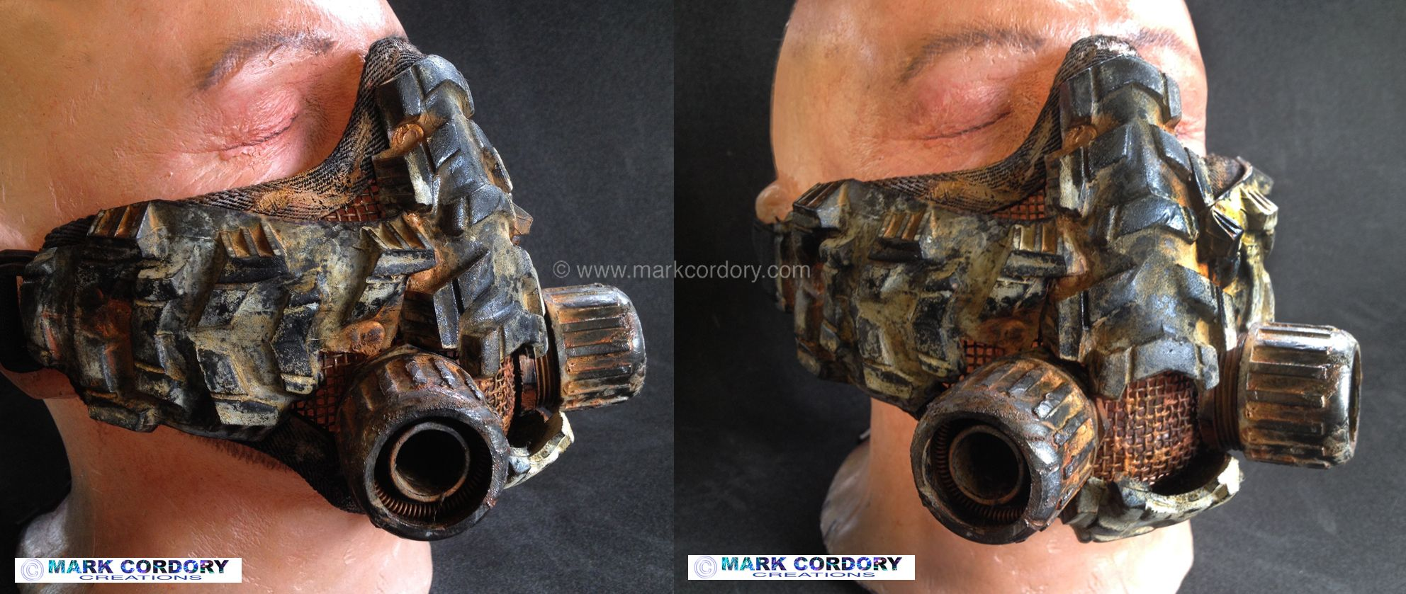 Post Apocalyptic Mad Max style LARP Airsoft gas mask - respirator made by Mark Cordory Creations www.markcordory.com