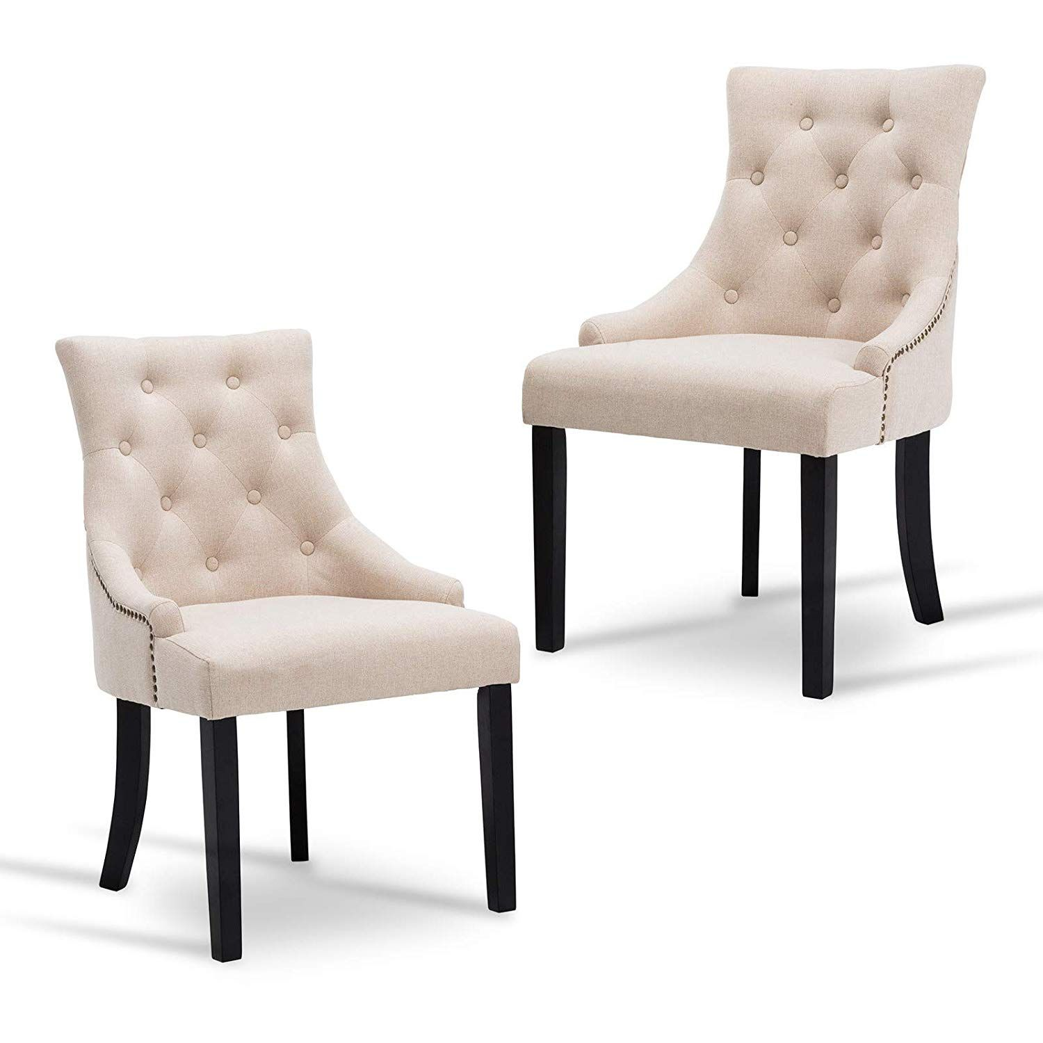 Best Hou Hai Elegant Set Of 2 Beige Fabric Accent Dining Chairs 400 x 300
