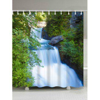 Waterfall Landscape Print Waterproof Shower Curtain Waterfall