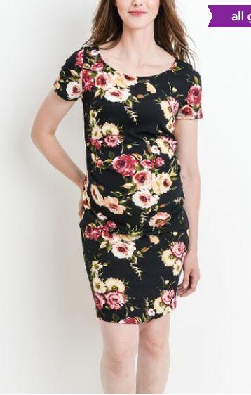 38fad3c6b35 Hello MIZ Women s Velvet Black Floral Scoop Neck Maternity Dress Size Small  B  fashion