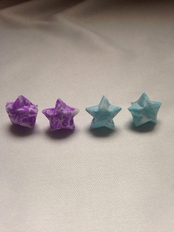 Glow in the Dark Origami Star Stud Earrings by ChionasStudio