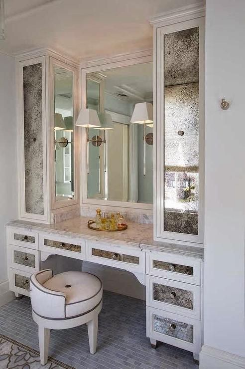Glam Dressing Room Features A Built In Dressing Table With