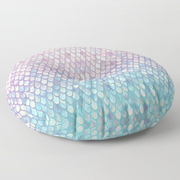 Spring Mermaid Scales Floor Pillow by artlovepassion