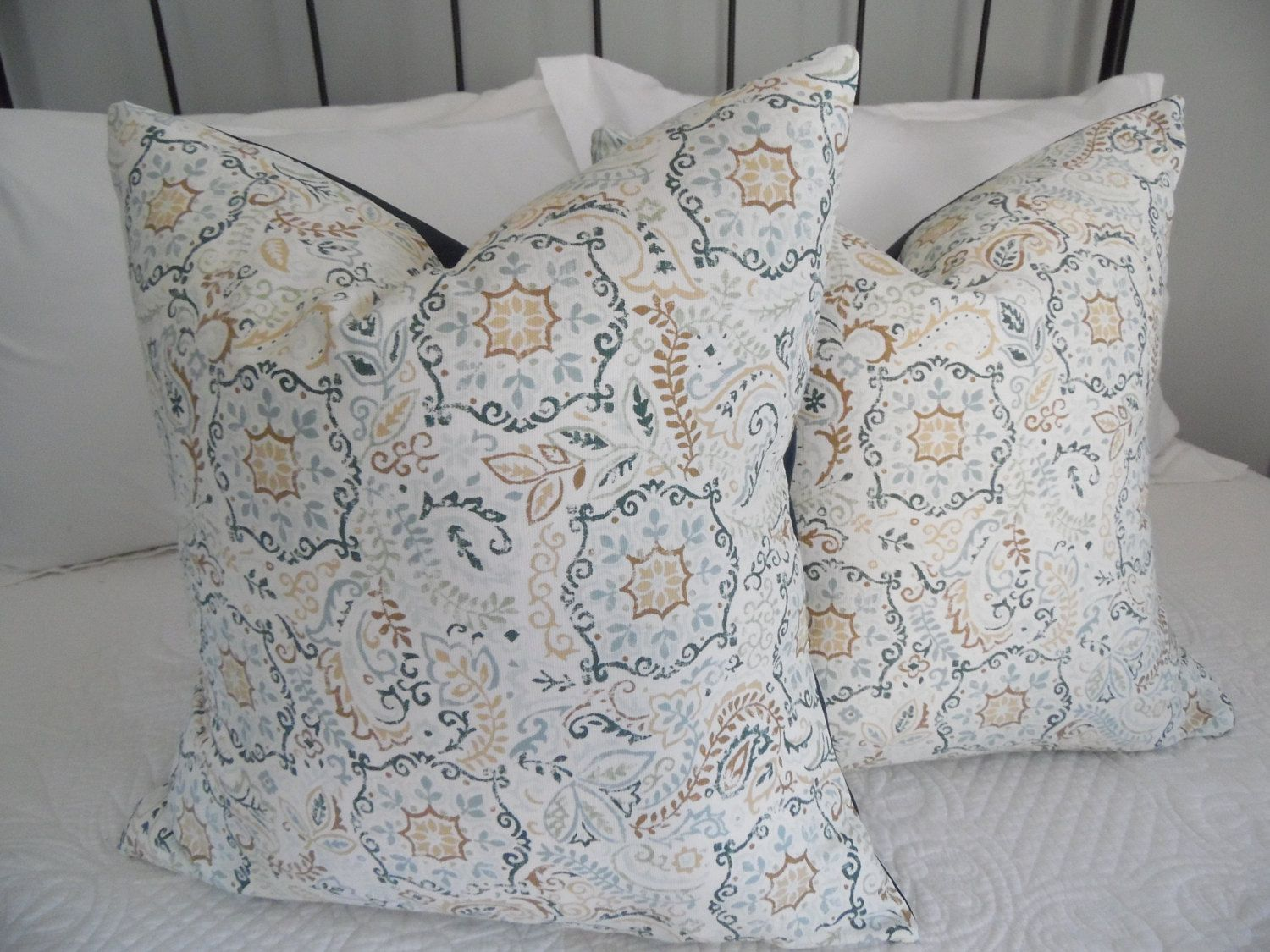 Set of leaf pillow cover tan brown blue cream teal leaf pillow