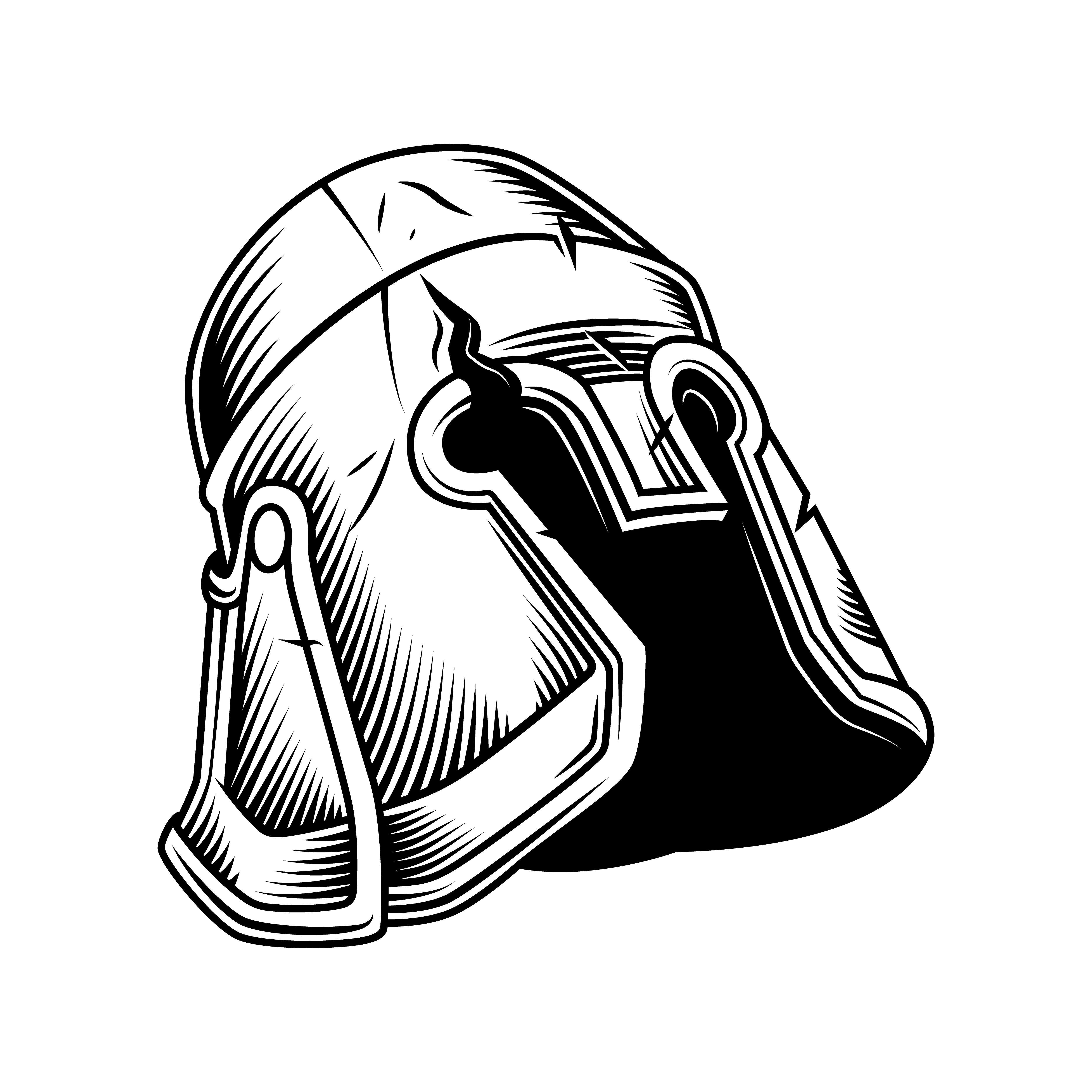 Helmet Illustration In 2020 Warriors Illustration Vintage Helmet Vector Free