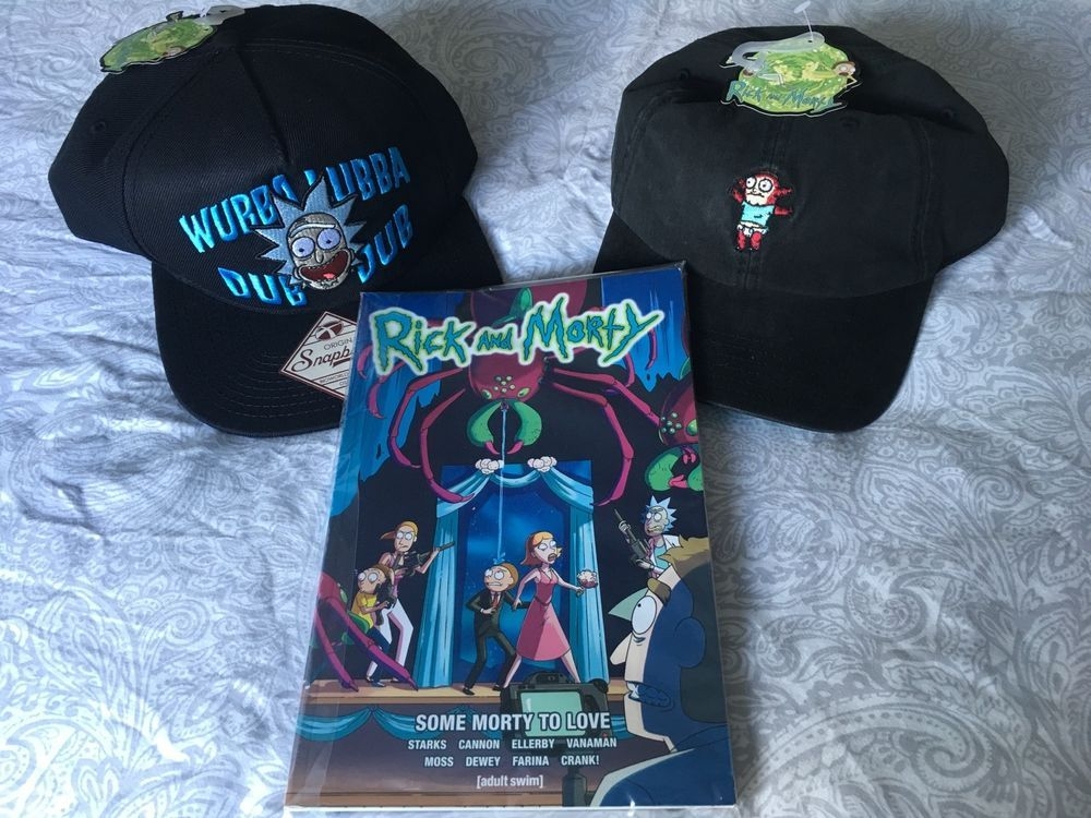 a55e2b4f2c1 eBay  Sponsored OFFICIAL RICK AND MORTY LOT 2 CAPS WUBBA LUBBA DUB DUB JR    BOOK BRAND NEW TAGS