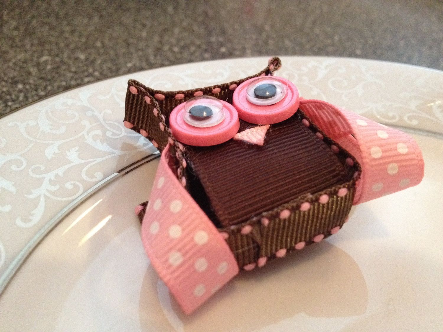 Owl Hair Bow Clip - Toddler Hair Clip - Baby Hair Bow - Ribbon Sculpture - Infant Hair Clip -  Hair bow -Pink and Brown. $5.50, via Etsy.