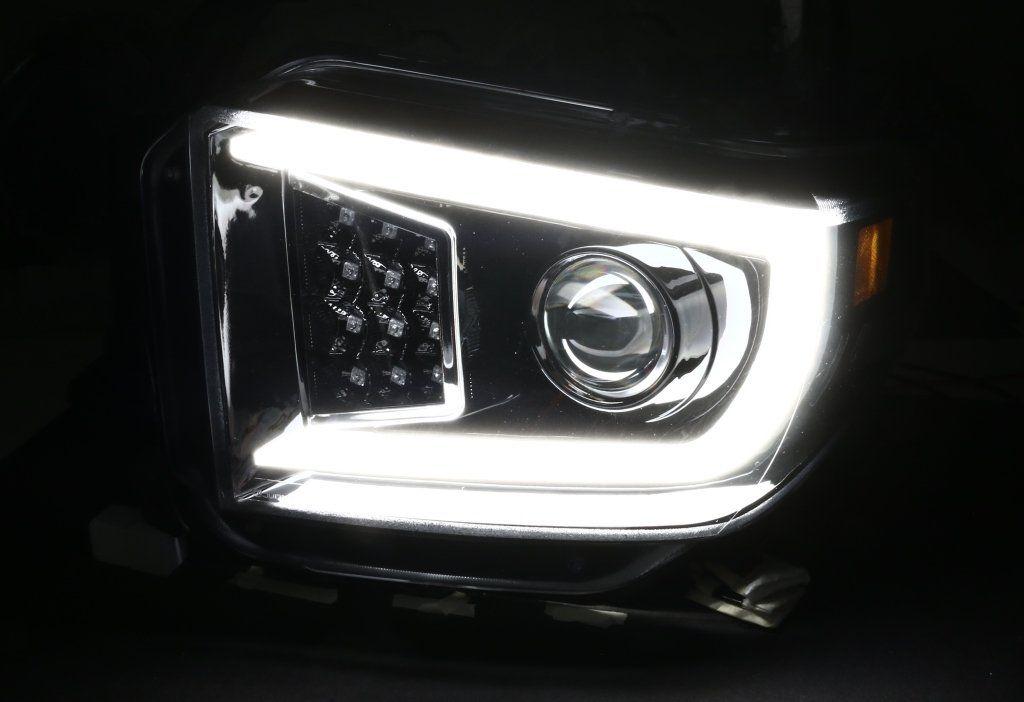 Spec D Projector Headlights Toyota Tundra Sequential Led Drl 14 18 Black Chrome Projector Headlights Toyota Tundra Tundra
