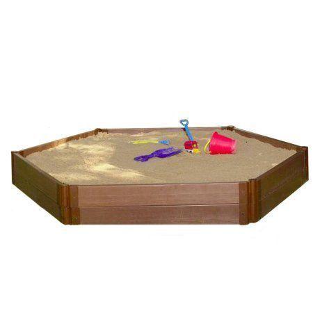 Frame It All Sandbox Hexagon 2 inch 7\' x 8\' 2 Level, Brown | Sandbox ...