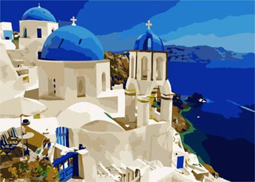 Greece Santorini Island Needlepoint Canvas 738