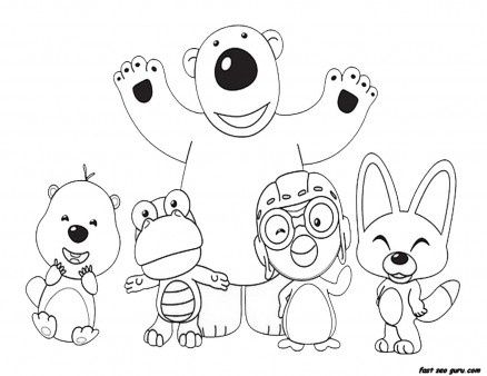 Printable Disney Pororo the Little Penguin and Friends coloring ...