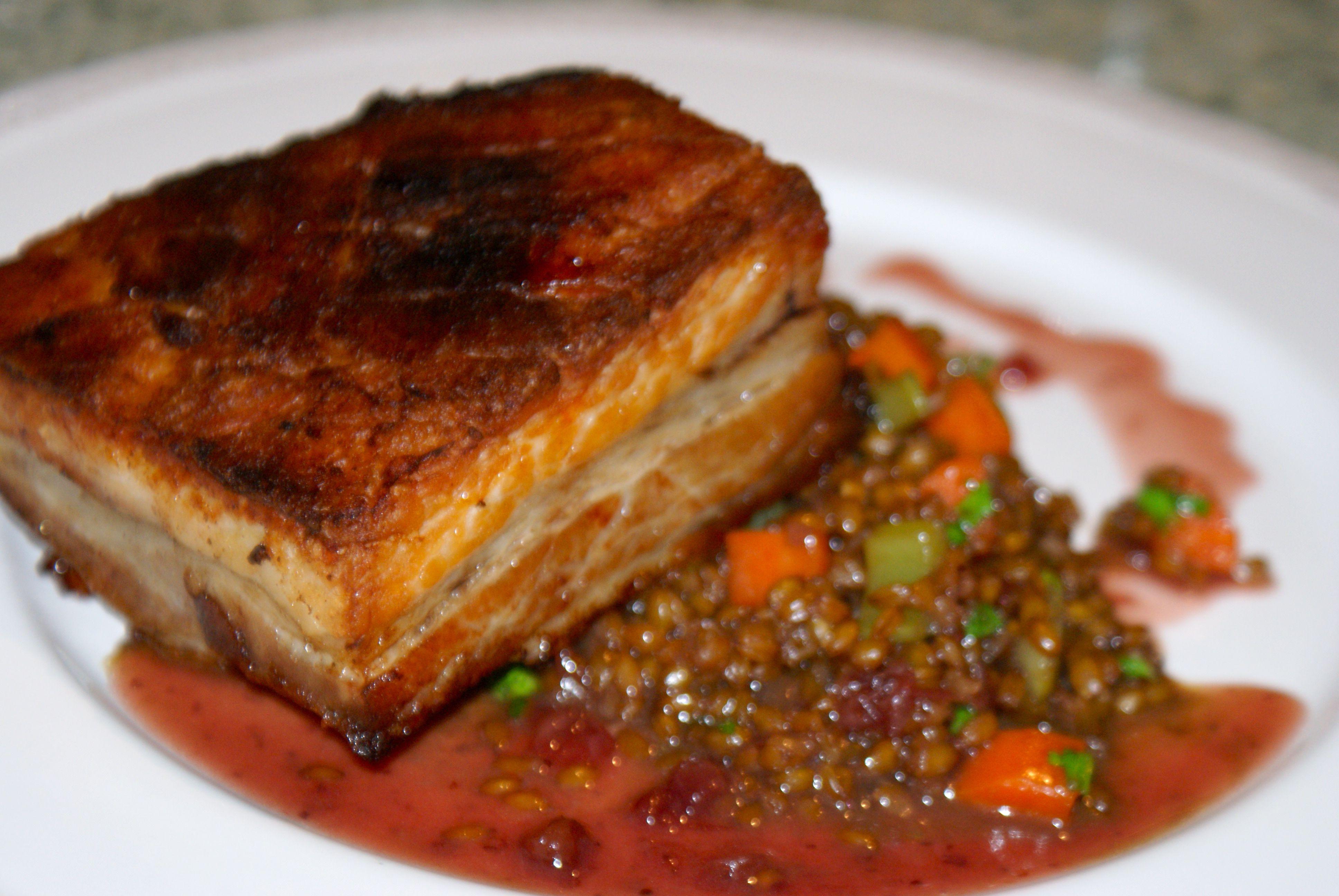 seared pork belly confit, piccolo farrotto, lingonberry gastrique