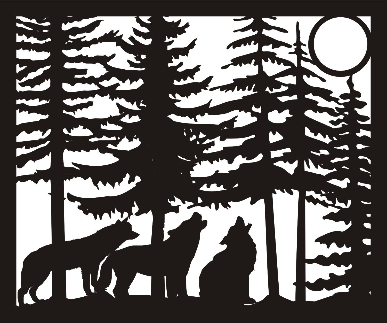 30 X 36 Three Wolves Moon Plasma Metal Art DXF File Free