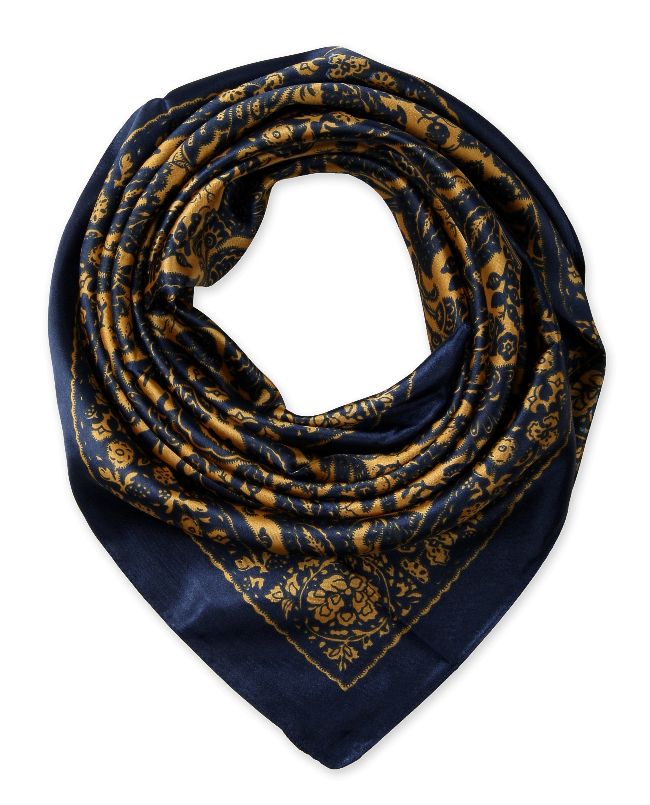 "Corciova®  35"" Silk-like Big Square Scarf 35 x 35 (Tibet flowers navy brown background)"