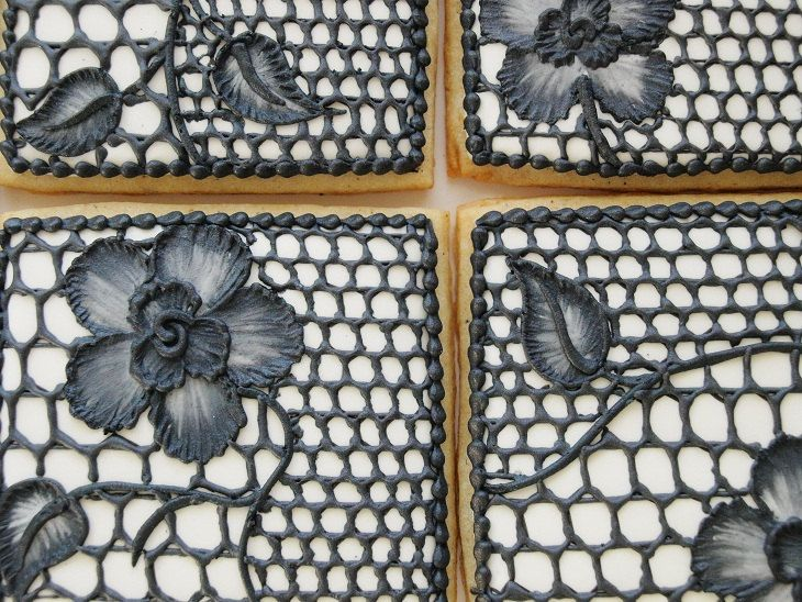 Black Lace Cookies - Set of 6 Orange Vanilla Spice Cookies. $50.00, via Etsy.
