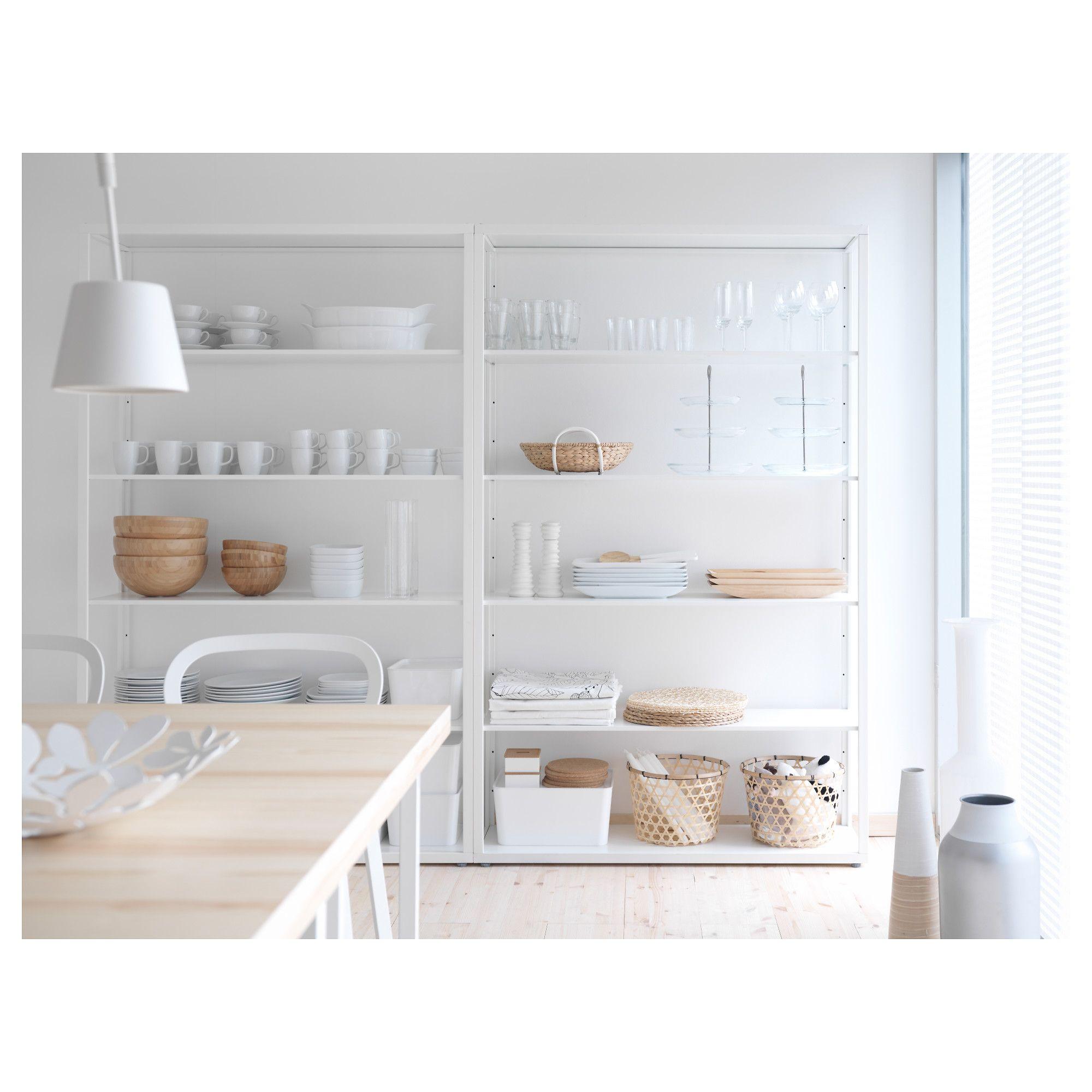 FJÄLKINGE Shelving unit with drawers White 118x193 cm | Drawers ...