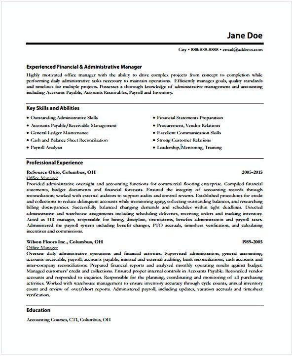 Account Receivable Resume Experienced Office Manager  Office Manager Resume Sample  In Needs .