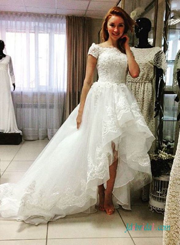 Stunning High Low Hemline Organza Lace Wedding Dress