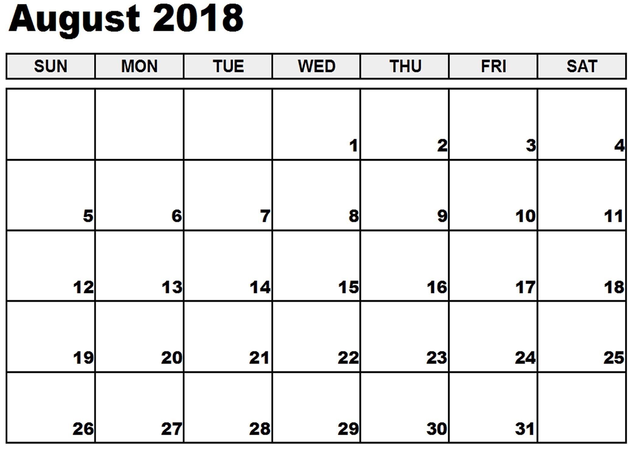 August 2018 Calendar August 2018 Calendar Word August 2018