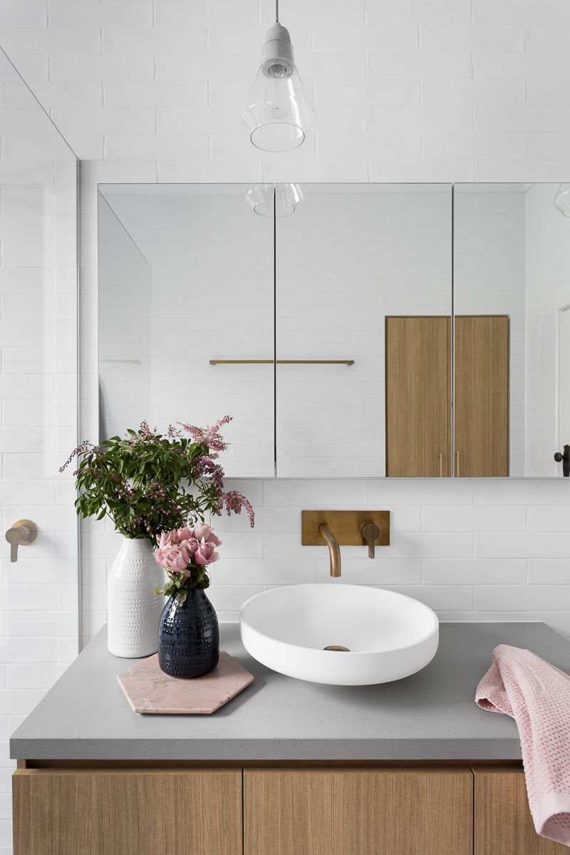 Gray Subway Tiling in a Serene Pink & White Bathroom | Minimal ...