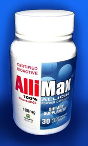 """Allimax capsules contain 100% pure stabilized Allisure™ allicin extract, the most important and active constituent found in garlic. Most garlic supplements available contain less than 5% allicin or can provide only unstable """"allicin potential"""" which oftentimes cannot survive the stomach acid, preventing it's conversion to true allicin. Allimax capsules contain 100% stable Allisure™ allicin that is able to survive the digestive process and needs no conversion by the body before going to work."""