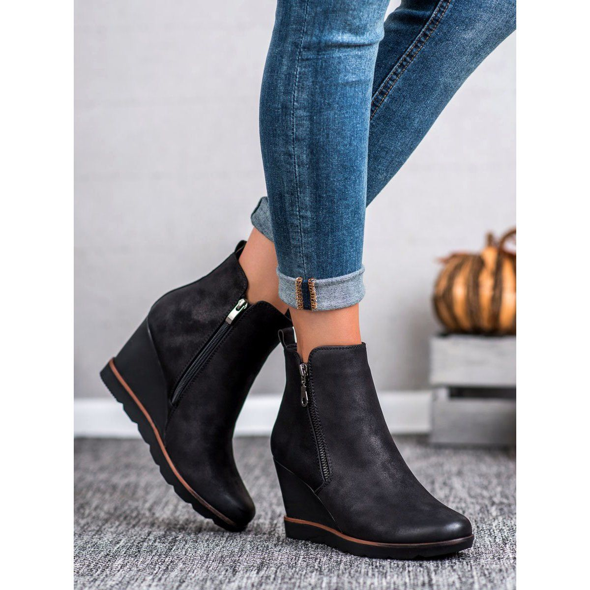 Filippo Czarne Botki Na Koturnie Ankle Boot Chelsea Boots Shoes