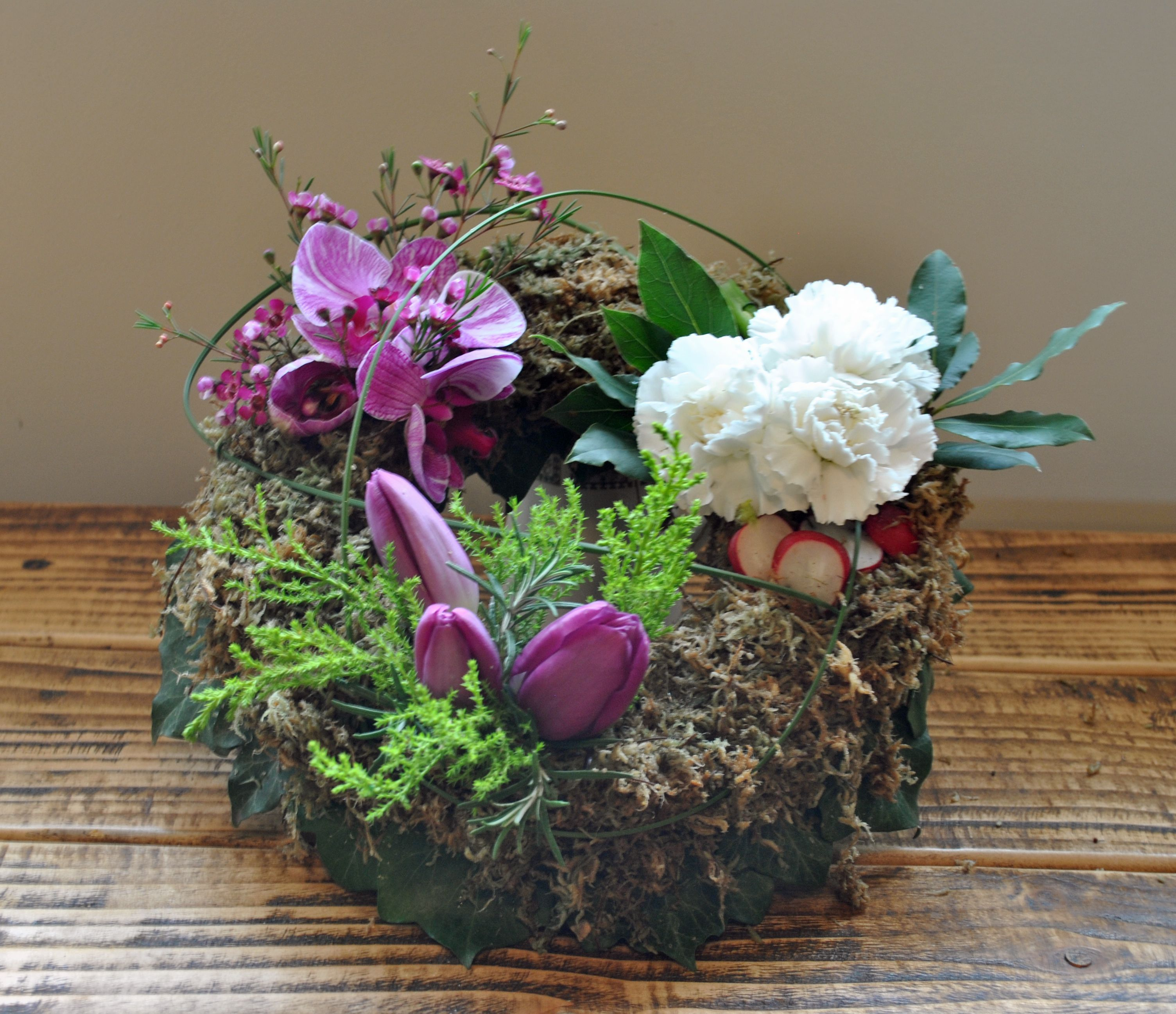 Bespoke funeral wreath gardening inspired with orchids tulips bespoke funeral wreath gardening inspired with orchids tulips carnations and vegetables base izmirmasajfo Image collections