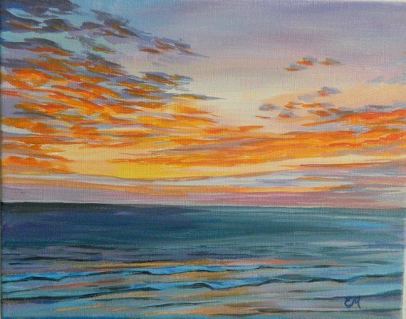 Sunrise Painting Beach Painting Seascape Florida Sunrise Florida