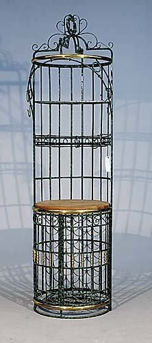 593 Wrought Iron Wine Rack And Bar