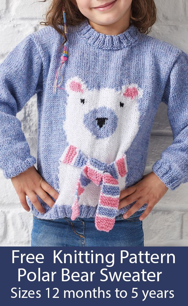 Photo of Free Knitting Pattern for Polar Bear Sweater Sizes 12 months to 5 years