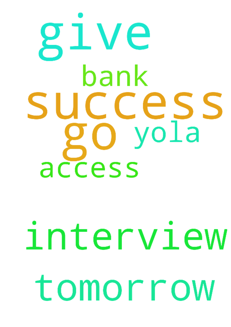 lord give me success as I go for interview tomorrow - lord give me success as I go for interview tomorrow Access bank yola. Amen Posted at: https://prayerrequest.com/t/JlK #pray #prayer #request #prayerrequest