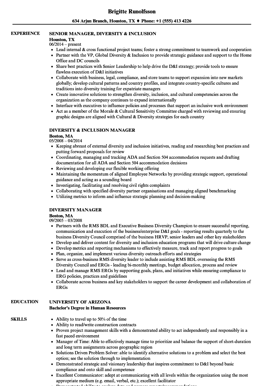 Diversity Manager Resume Samples in 2020 Project manager