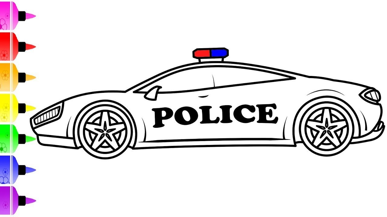 How To Draw A Police Supercar For Kids Police Car Coloring Page