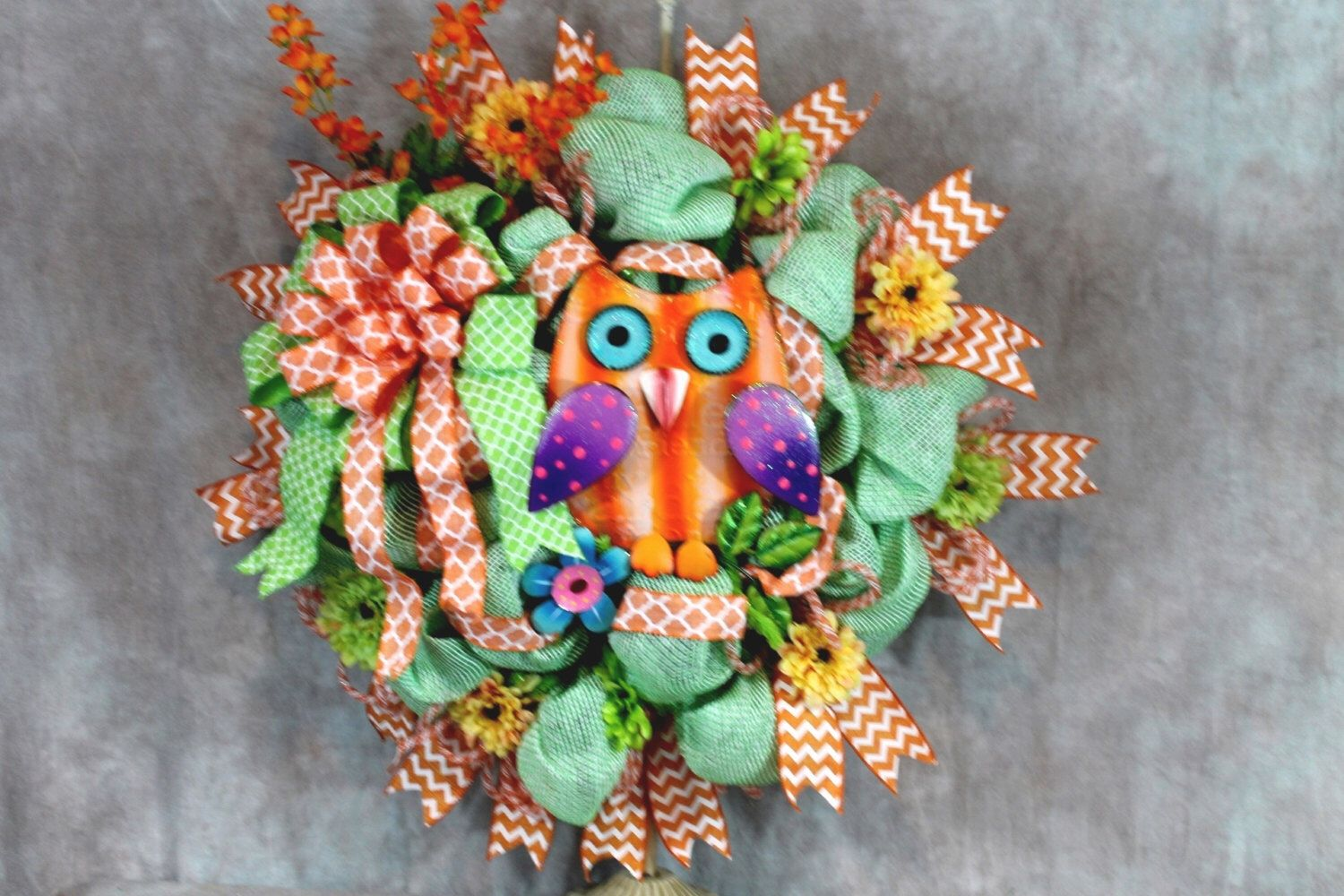 Owl Wreath, Orange and Green Wreath, Orange Owl Wreath, Owl Door Wreath, Orange Owl Door Wreath, Lime Green Wreath, Deco Mesh Wreath, Owl by SouthernCharmFlorals on Etsy https://www.etsy.com/listing/230206261/owl-wreath-orange-and-green-wreath