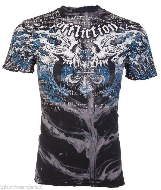 AFFLICTION Mens T-Shirt BURN Skulls Tattoo Fight Biker Gym MMA UFC Vtg S-4XL $66 #Affliction #GraphicTee