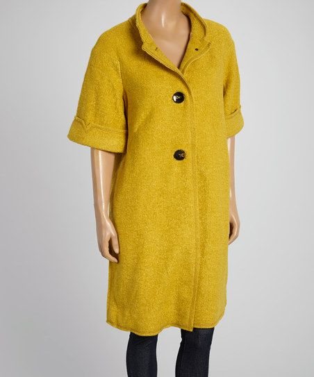 Mustard Wool-Blend Day Coat