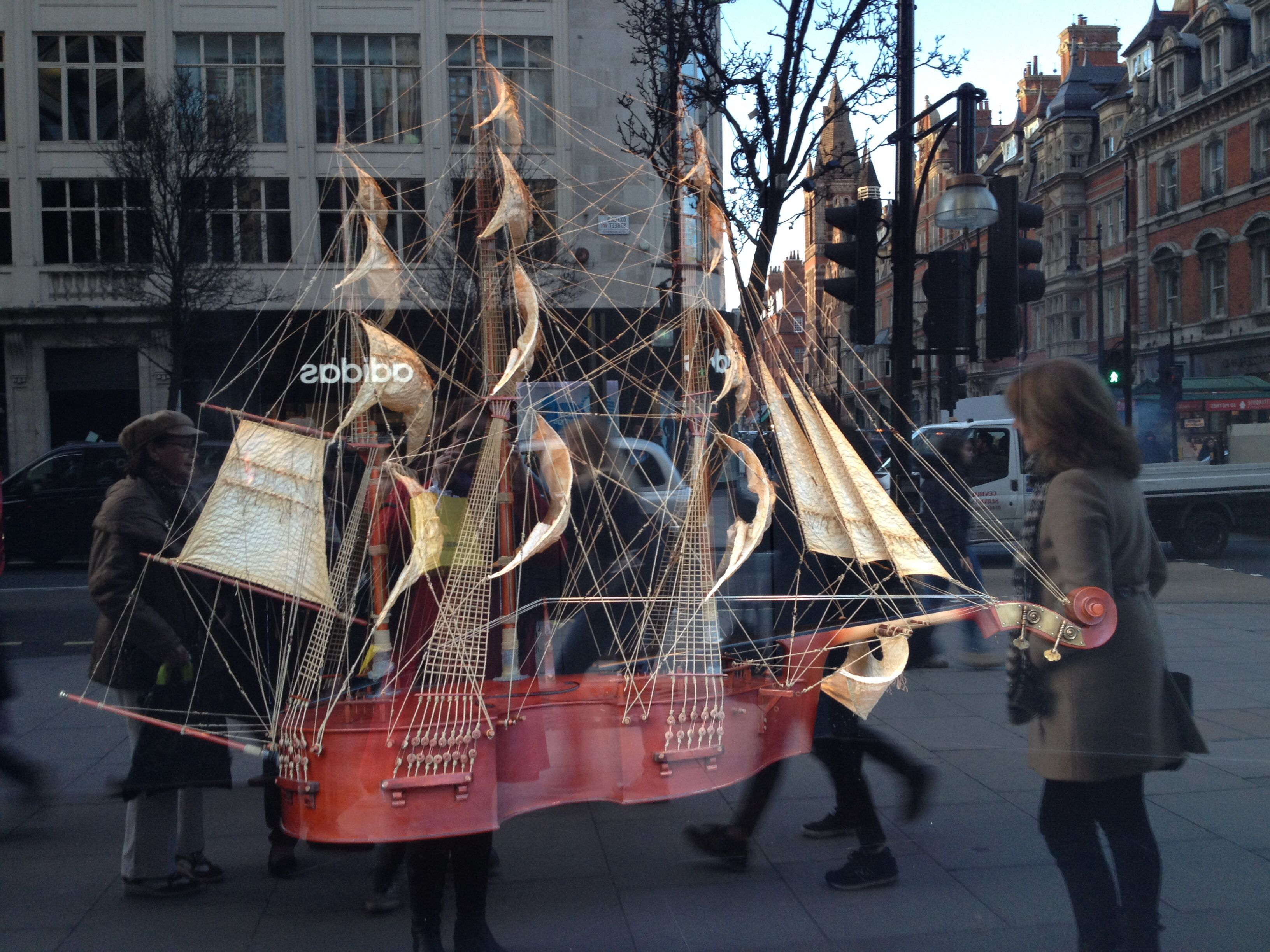 Awesome cello ship in Selfridges Oxford street window