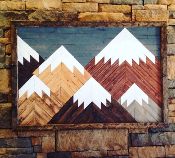 Mountain Wall Art Made Of Individually Cut Pieces Of Wood