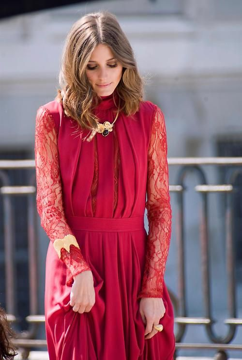 Wear a red and lace dress like Olivia Palermo's for a night out with your boyfriend or hubby! Pair with gold and black accesories