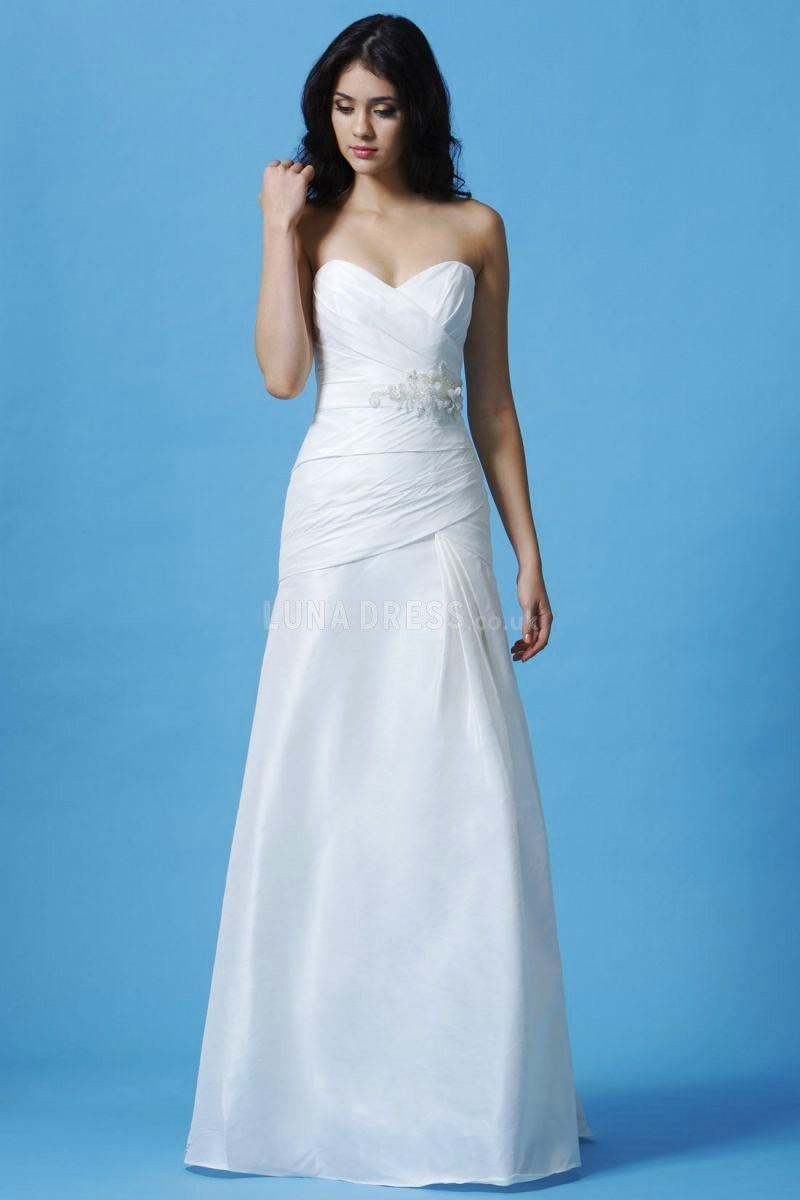 A line Sweetheart Taffeta Natural Waist Sleeveless Simple Wedding ...