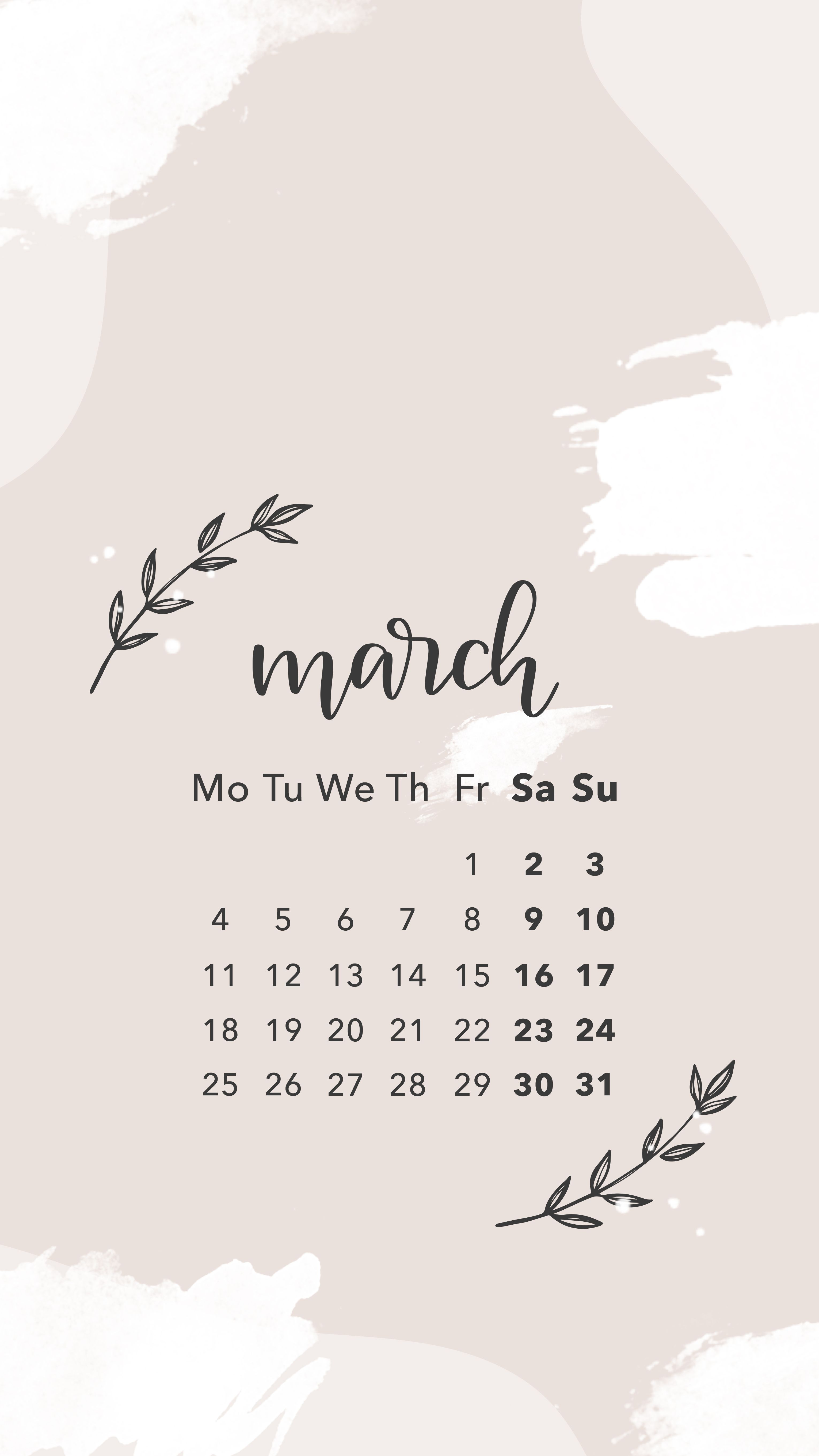 March Wallpaper Screensaver March Calendar Calligraphy Lettering Digital Graphic Design Spark Art Backgrounds Phone Wallpapers