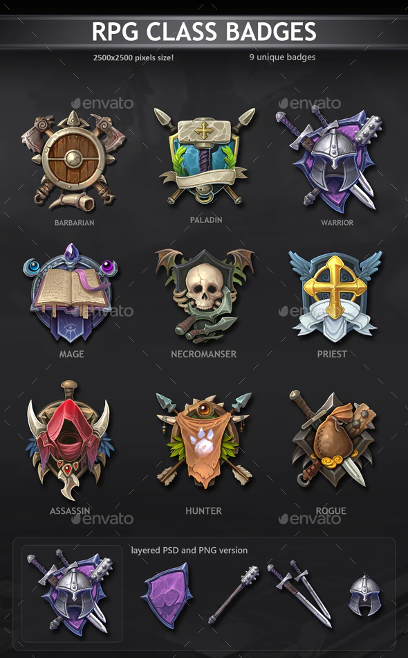 RPG Class Badges by REXARD | GraphicRiver