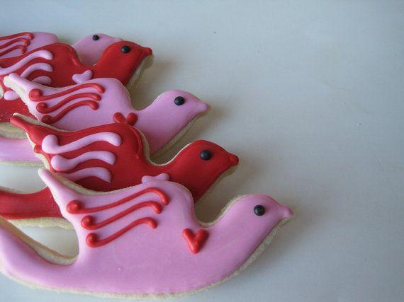 LOVE Birds Sugar cookies  1 dozen by justcrumbs on Etsy, $20.50