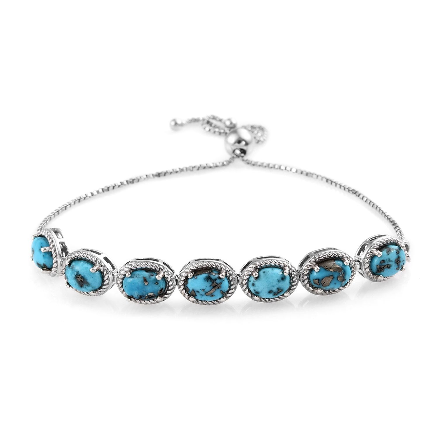 Turquoise Bolo Bracelet in Platinum Over Sterling Silver