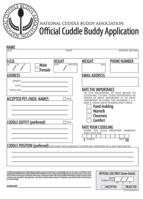 Official cuddle buddy application Odds \ Ends \/\/ RaNdOm - application for leave