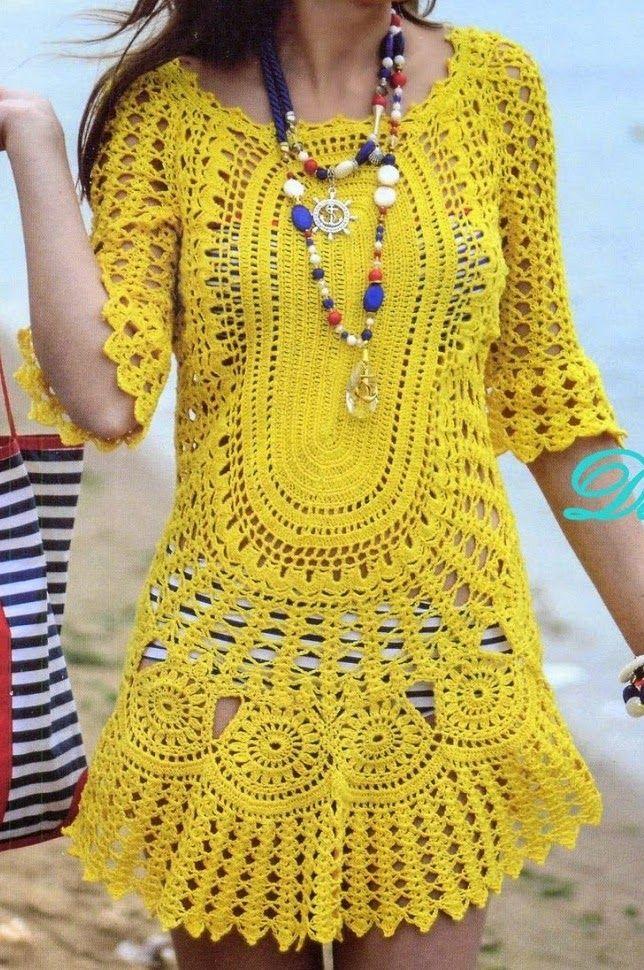 Saida de Praia Amarela em Croche com flores e manga, pode usar como ...