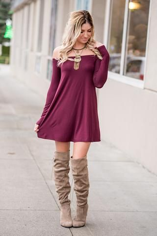 a9124ced22db Playing To Lose Off The Shoulder Dress (Wine) - NanaMacs.com - 1 ...