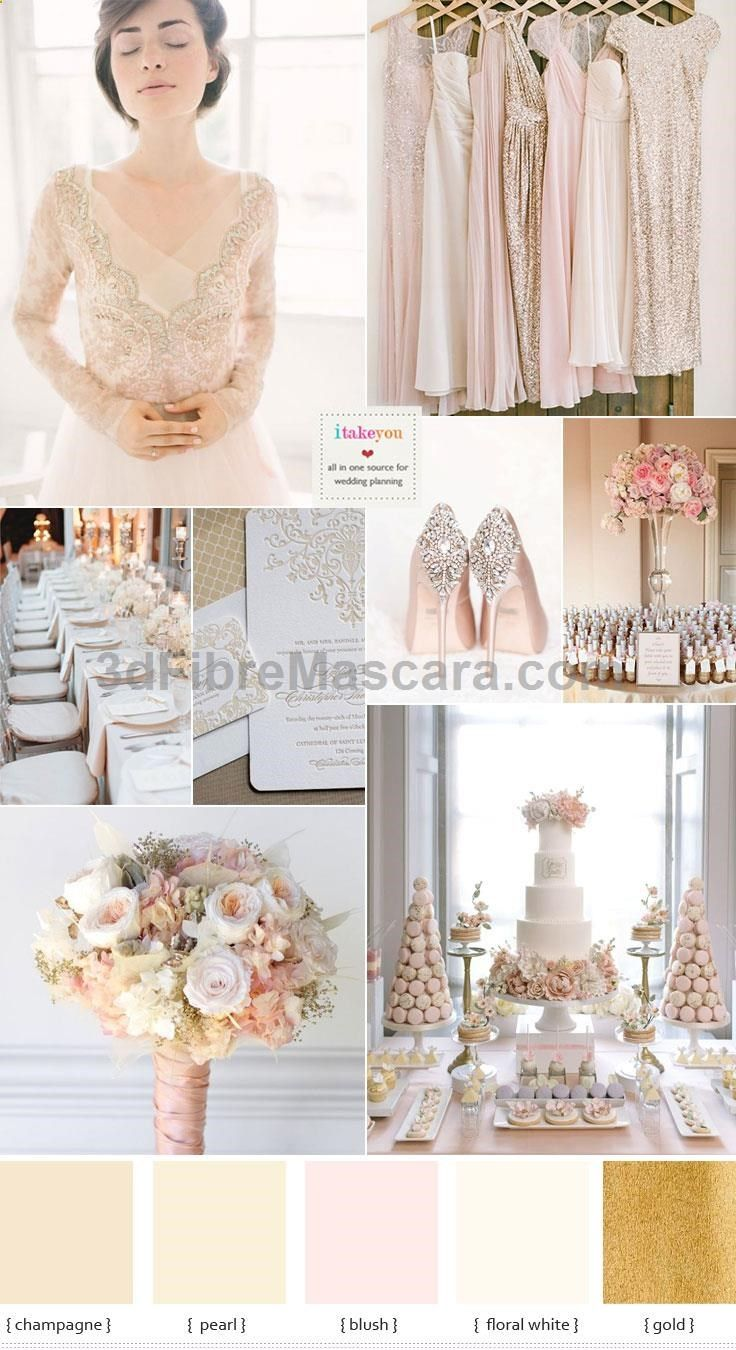 Champagne wedding theme with blush accents can be used at any time ...