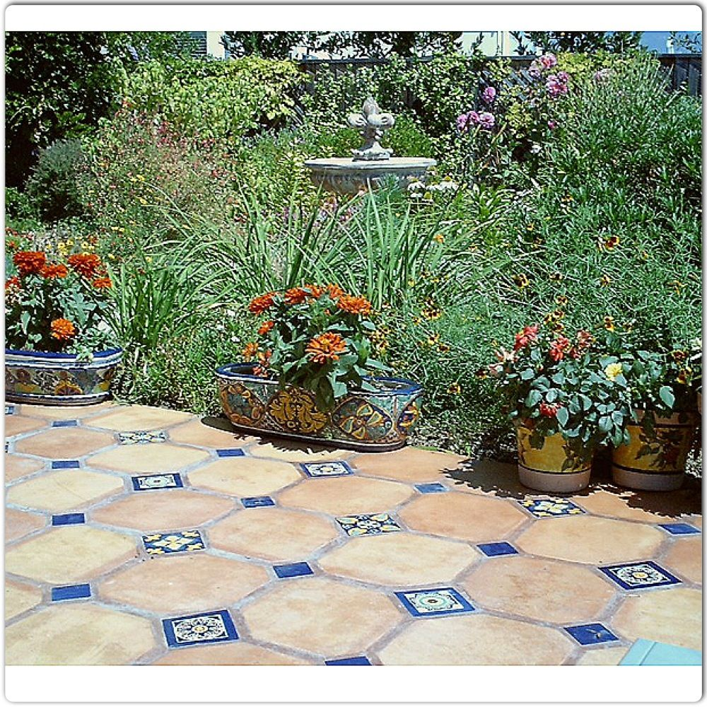 Spanish influence for the backyard. Love the Saltillo tile.   Home ...