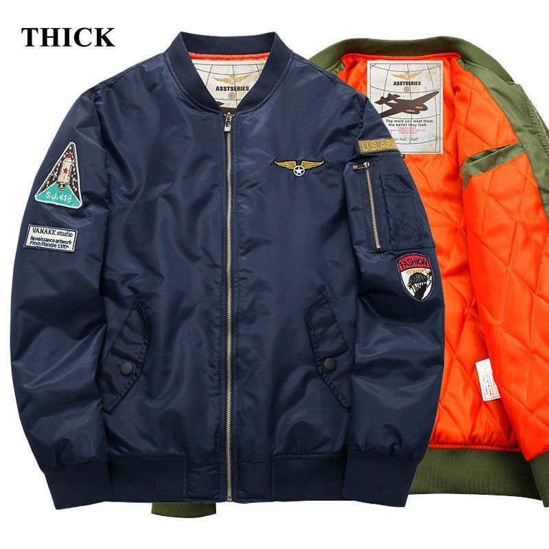 aeb3687fb55 Men s Aeronautica Militare Logo Air Force One Bomber Military Pilot MA-1  Embroidery Army Patch Cotton Liner Jacket